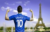 French soccer player celebrates in Paris, France