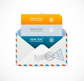 Vector mail postcard menu with 3 choices 123.
