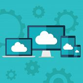Cloud computing. Flat design illustration of laptop, desktop computer, tablet and smart phone with c