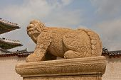 Statue Of Lion-like Creature Haechi In Gyeongbokgung Palace. Seoul, Korea