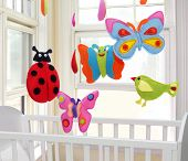 Butterflies, Ladybug And Bird