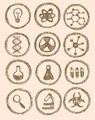 Sketch Chemical Icons In Vintage Style
