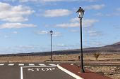 picture of urbanisation  - new roads for the development area in Lanzarote - JPG