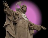 Statue of Christ with real and fake aureole