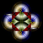 Color  Graphical Composition With Spiral Elements On Black Background