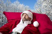 Santa Claus Sleeping In The Snow