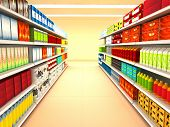 stock photo of grocery store  - Supermarket with goods  - JPG