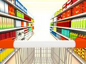 Supermercado. imagen renderizada 3D