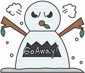 vector winter snowman face cartoon emotion expression rage