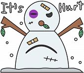 vector winter snowman face cartoon emotion expression fight