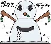 vector winter snowman face cartoon emotion expression greed
