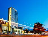 Night View Of City Plaza In Tallinn, Estonia