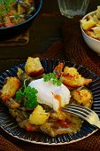 Mushroom Ragout With Poshed  Egg
