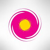 Red yellow abstract twisted circle element. Vector