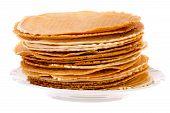 stock photo of brighten  - Pack of fresh baked krumkakes on white background brightened - JPG