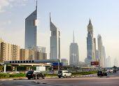 Dubai, Uae - September 8: The Dubai Cityscape And Emirates Towers On September 8, 2013 In Dubai, Uae