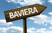 Baviera wooden sign on a beautiful day