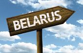 Belarus wooden sign on a beautiful day
