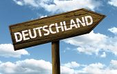 Deutschland, Germany wooden sign on a beautiful day
