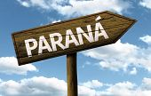 Parana, Brazil wooden sign on a beautiful day