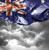 Australia waving flag on a bad day