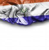 Paraguay waving flag on white background