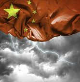 China waving flag on a bad day