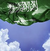Saudi Arabia waving flag on a beautiful day