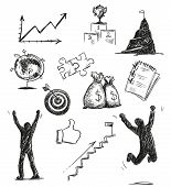 Freehand sketch of success symbols. Success icons. Vector illustration.