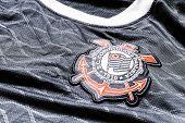 SAO PAULO, BRAZIL - CIRCA AUG 2014: Corinthians soccer logo on an official jersey.