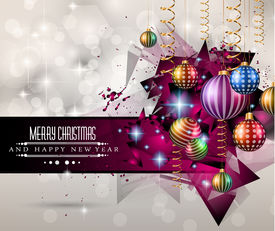 image of star shape  - 2015 New Year and Happy Christmas background for your flyers - JPG