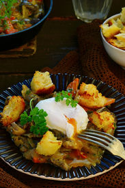 picture of posh  - mushroom ragout with poshed egg also croutons  - JPG