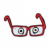 stock photo of spectacles  - cartoon eyes in spectacles - JPG