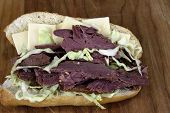 foto of deli  - Deli Sub Corned Beef With Swiss Cheese - JPG