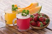 foto of smoothies  - a potrait of pair strawberry and melon smoothie - JPG