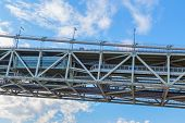 stock photo of guinness  - The longest central span of any suspension bridge in the world - JPG