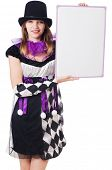 stock photo of harlequin  - Girl in harlequin costume isolated on white - JPG