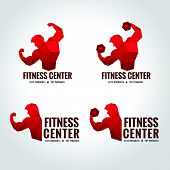 foto of health center  - Fitness center logo low poly  Men show greater strength and muscle Red tone - JPG