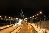 picture of novosibirsk  - Third bugrinskij bridge over the Ob river at night - JPG