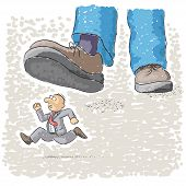 picture of stomp  - an illustration with foot stomping a man - JPG