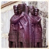 stock photo of crusader  - A porphyry statue of the first Roman Tetrarchy stolen from Constantinople during the Fourth Crusade and now embedded in an external wall of the Basilica di San Marco Venice Italy - JPG