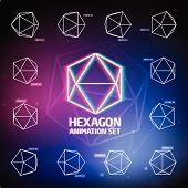 image of hexagon  - Vector Hexagon Animation Set for preloaders and presentations - JPG