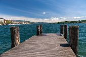 pic of dock a lake  - Riva del Garda view at the lake Garda Italy - JPG