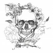 foto of day dead skull  - Skull and Flowers Day of The Dead - JPG