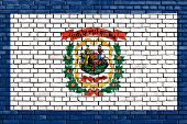 picture of virginia  - flag of West Virginia painted on brick wall - JPG