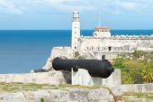 picture of el morro castle  - The fortress of El Morro in Havana with  old spanish cannons on the foreground - JPG