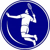 stock photo of badminton player  - Icon illustration of a badminton player holding racquet jumping smashing viewed from side set inside circle on isolated background done in retro style - JPG