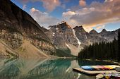 Moraine Lake Sunset, banco National Park