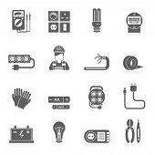 image of wire cutter  - Electricity black icons set with wire cable line voltage tester isolated vector illustration - JPG