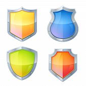 pic of guardian  - Guardian vintage glowing shields decorative icons set isolated vector illustration - JPG